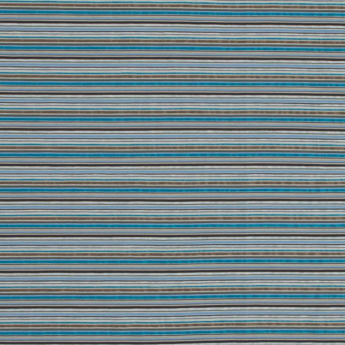 Blue and Brown Barcode Striped Cotton and Polyester Seersucker