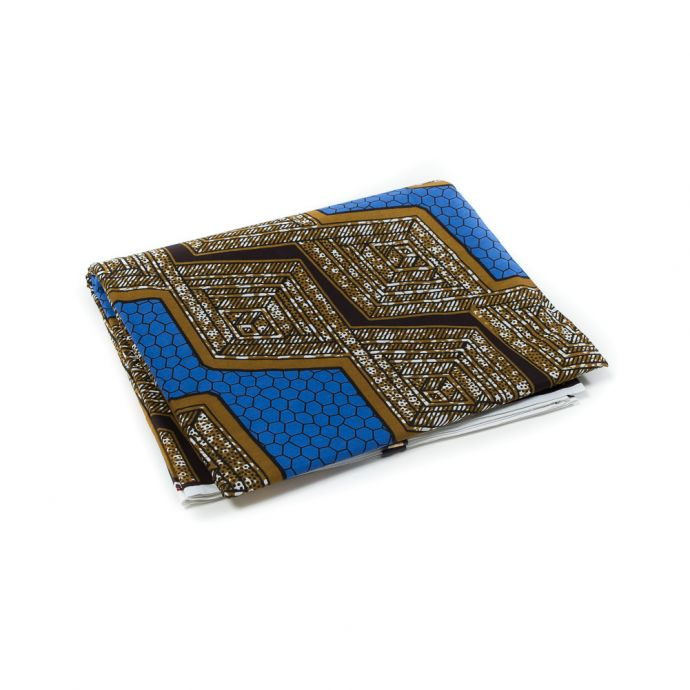 Blue and Golden Brown Waxed Cotton African Print
