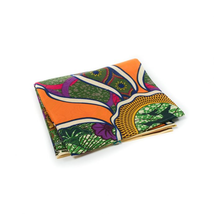 Orange and Green Waxed Cotton African Print with additional Inlaid Pattern