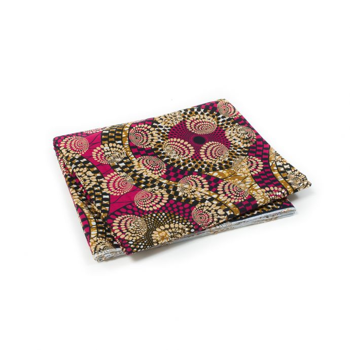 Pink and Mustard Waxed Cotton African Print decorated with Gold Metallic Foil