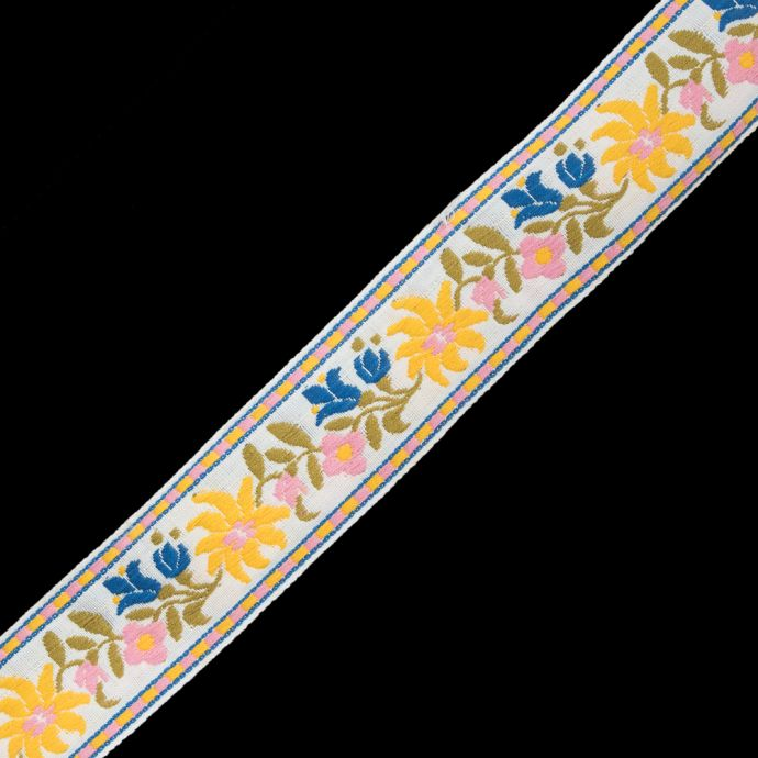 White, Yellow and Pink Floral Jacquard Ribbon - 1.625