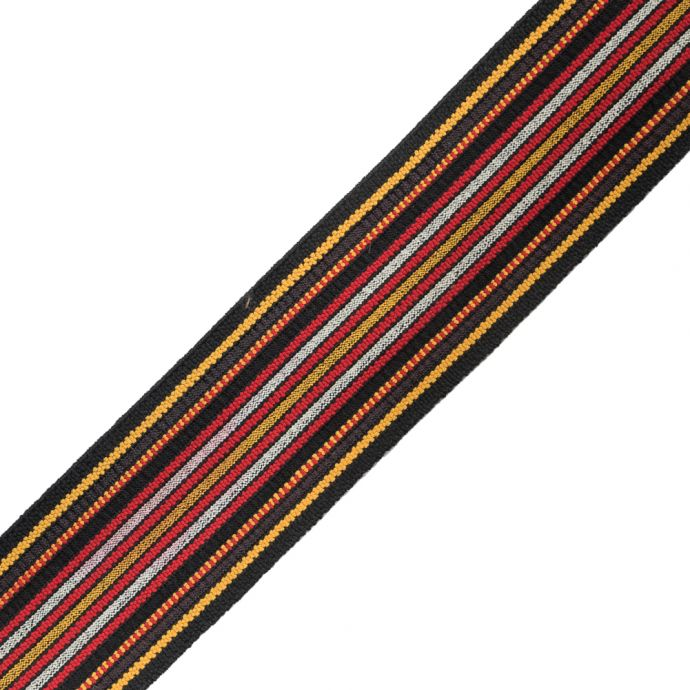 Brown, Red and Yellow Striped Smocked Elastic Trimming - 2.5