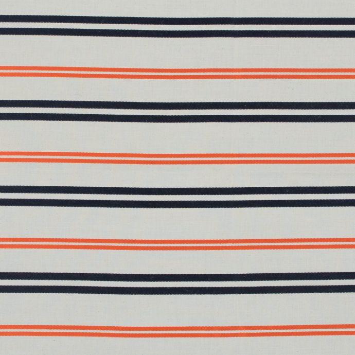 Pale Beige Cotton Twill with Orange and Navy Embroidered Stripes