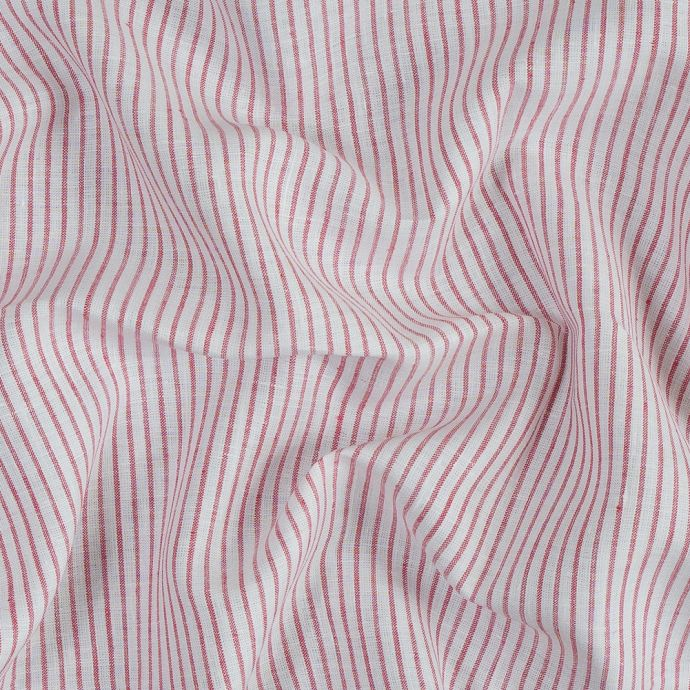 Red and White Striped Linen Woven