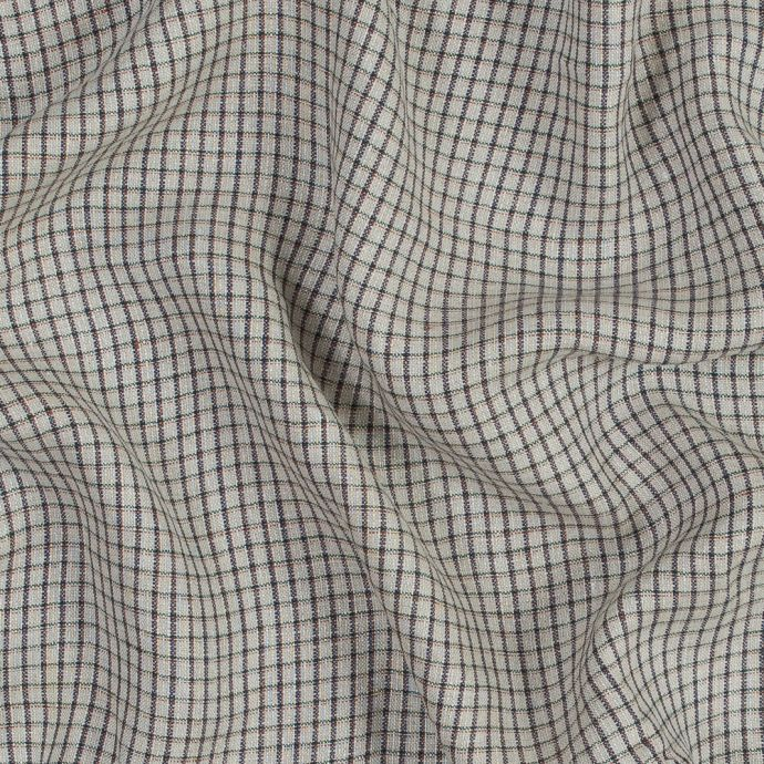Beige, Green and Red Tattersall Check Linen Woven