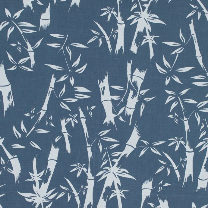 Colonial Blue Bamboo Tree Printed Linen Woven