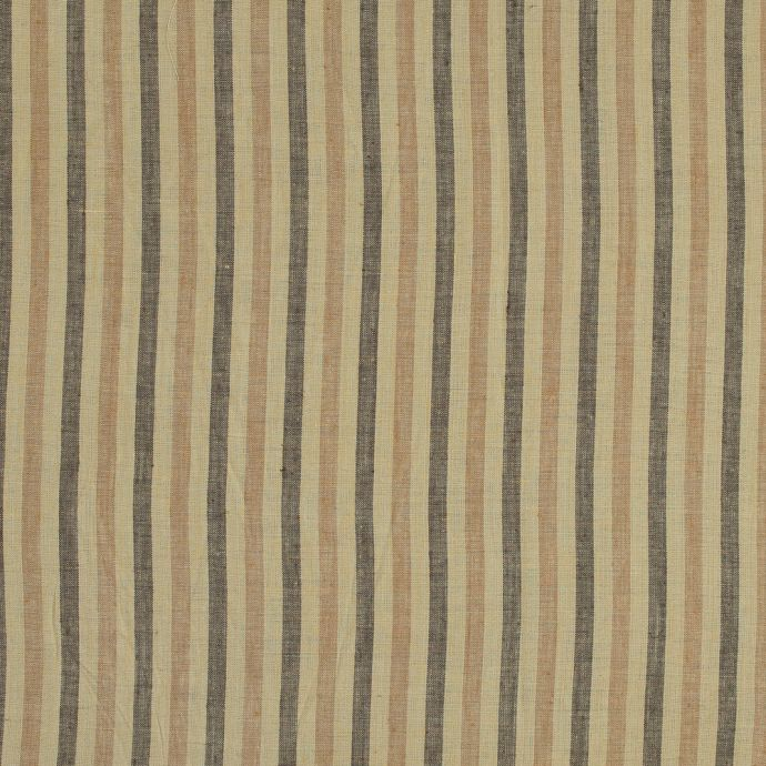 Yellow, Beige and Black Striped Linen Woven