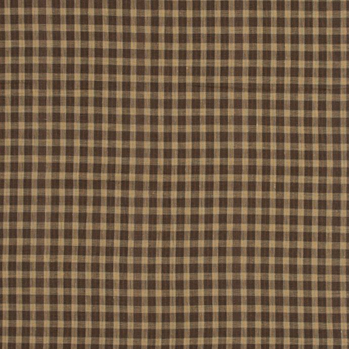 Brown and Beige Checkered Linen Woven