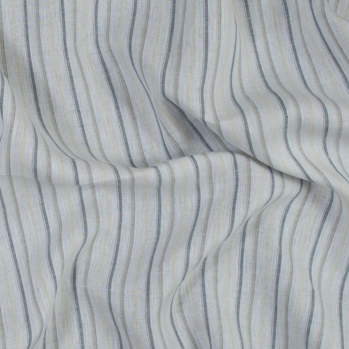 White, Gray, Blue and Yellow Striped Linen Woven