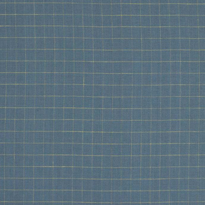 Colonial Blue and Yellow Graph Check Linen Woven