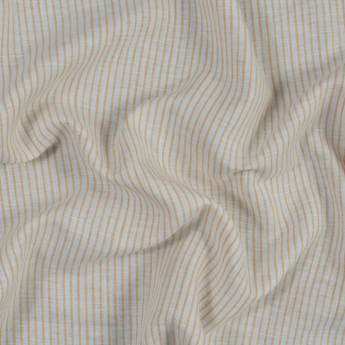 Yellow and White Striped Linen Woven