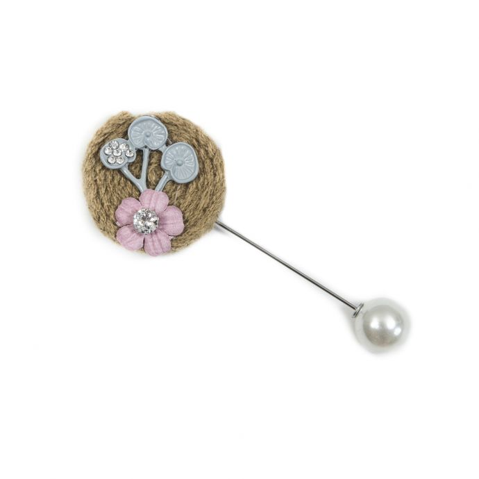 Italian Green and Gray Brooch with Pearl Closure - 3.5