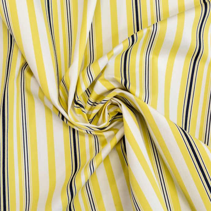 Yellow, Navy and White Striped Polyester Twill