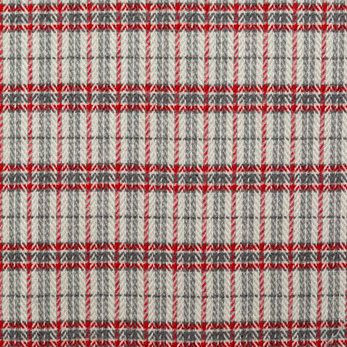 True Red and Gray Plaid Polyester and Wool Tweed