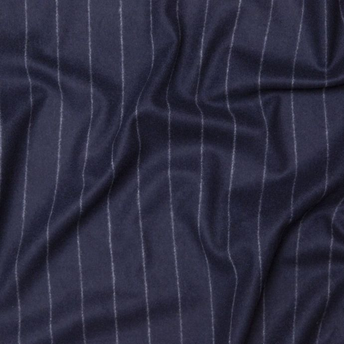 Italian Navy and White Chalk Striped Wool and Cashmere Coating