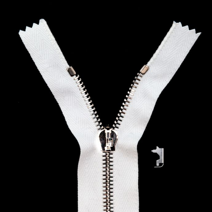 Mood Exclusive Italian White and Silver T5 Closed End Metal Zipper - 9