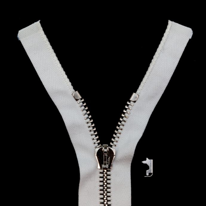 Mood Exclusive Italian Off-White and Silver T8 Open End Metal Zipper - 27.5