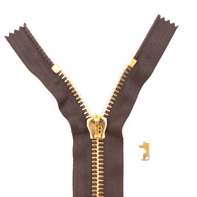 Mood Exclusive Italian Brown and Gold T8 Closed End Metal Zipper - 9