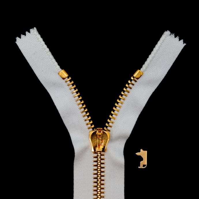 Mood Exclusive Italian White and Gold T8 Closed End Metal Zipper - 9
