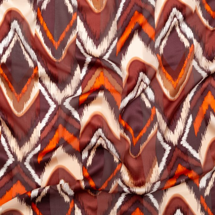 Orange and Brown Ikat Silk Chiffon with Charmeuse Awning Stripes