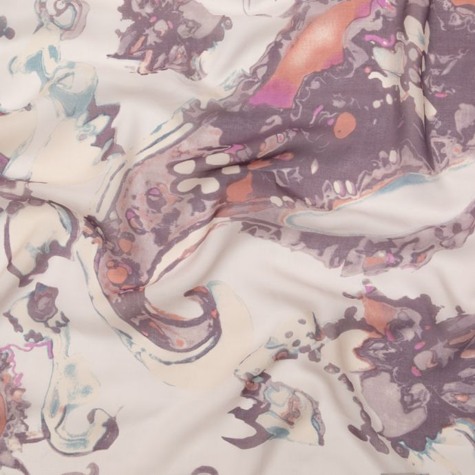 Antique Purple and Rust Abstract Silk Chiffon