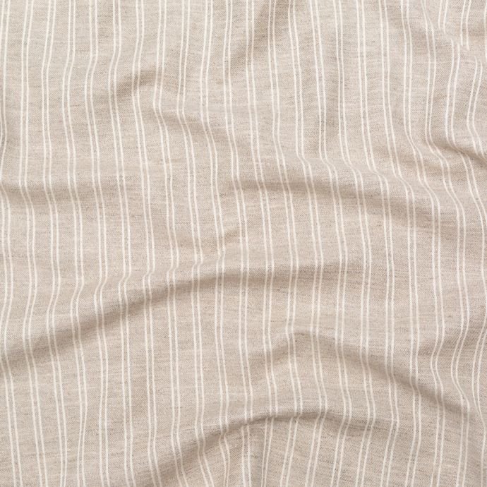 Turtledove and Ecru Tactile Double Striped Blended Linen Jacquard