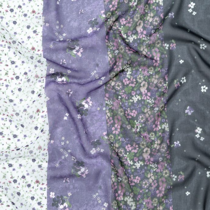 Italian Plum and Grass Green Striped Floral Polyester Chiffon