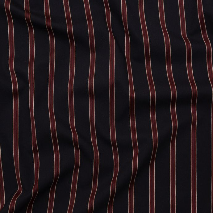 Italian Navy and Burgundy Striped Stretch Suiting