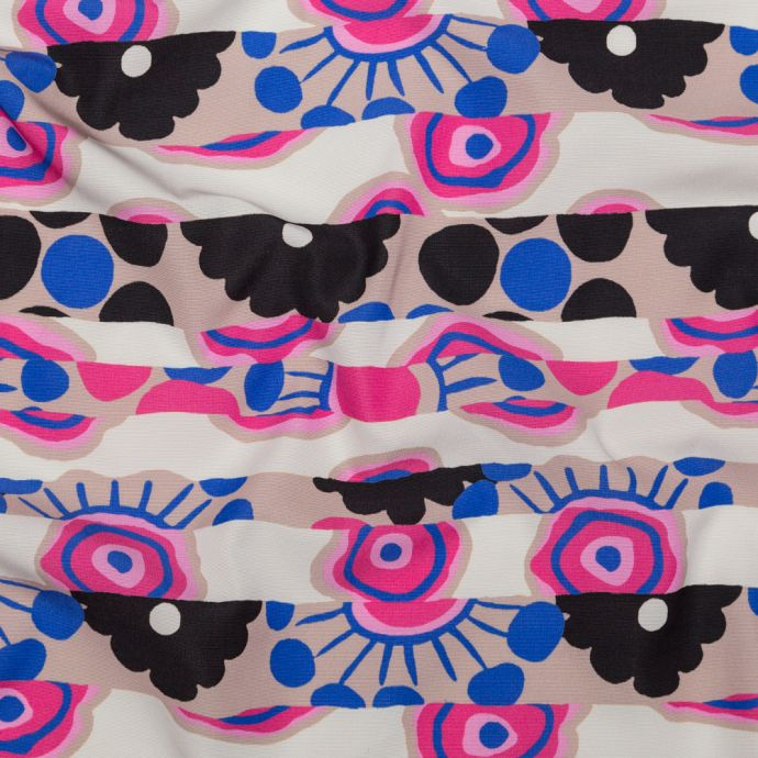 Milly Fawn, Anthracite and Fuchsia Rose Striped Floral Cotton Faille