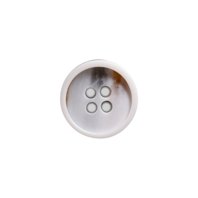 Italian White and Beige Abstract 4-Hole Plastic Button - 24L/15mm