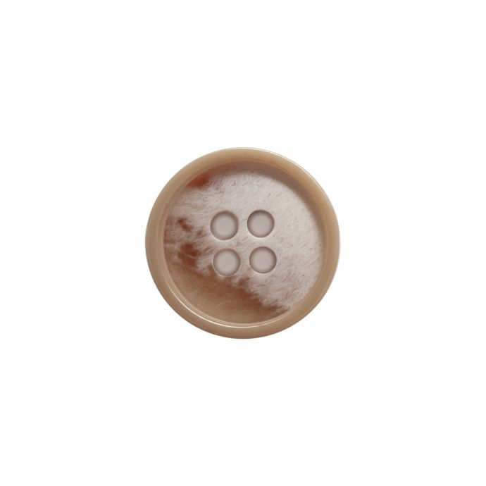 Italian Beige and Ivory Abstract 4-Hole Plastic Button - 24L/15mm