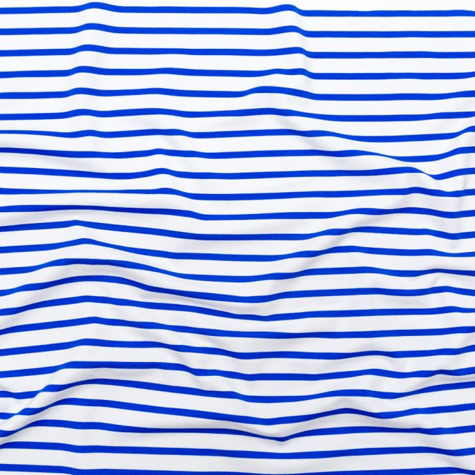 Dazzling Blue and White Striped Printed Double Knit