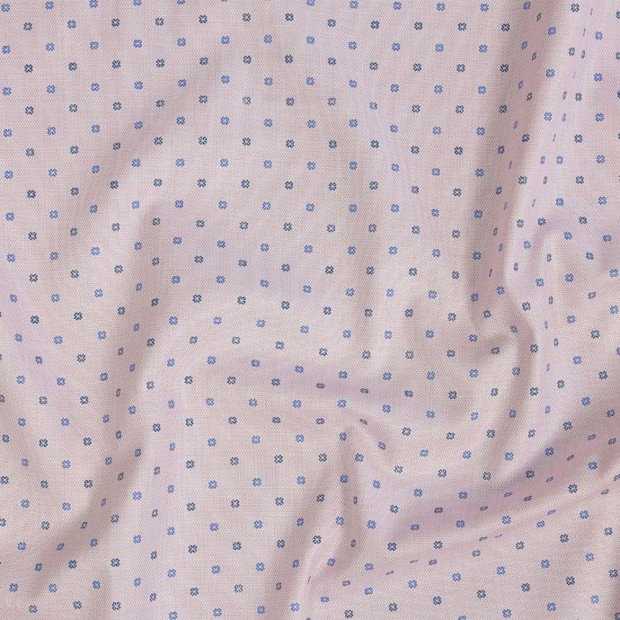 Premium Candy Pink and Gradient Blues Printed Quatrefoil Flowers Cotton Shirting