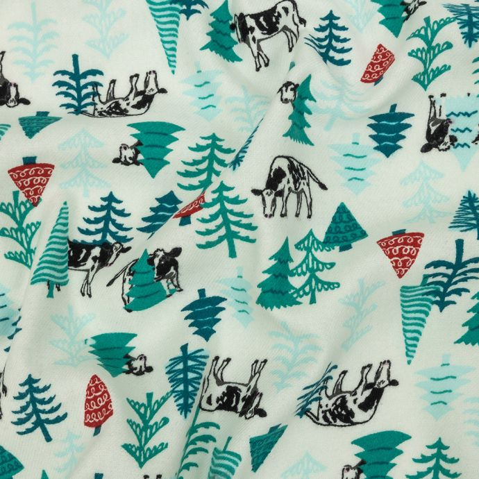 Evergreens and Cows Printed Cotton Flannel