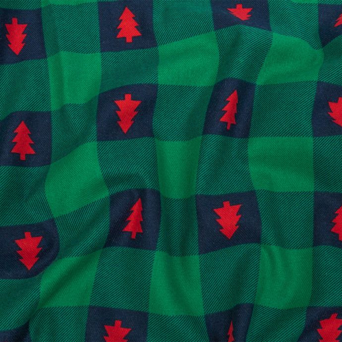 Green and Navy Checkered Cotton Flannel with Red Trees