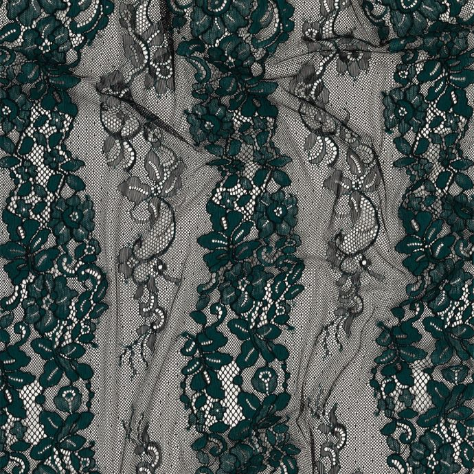 Teal and Black Floral Corded Lace Panel