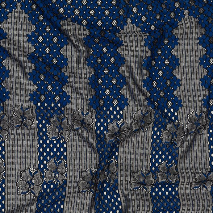 Royal Blue and Silvery Floral Corded Lace Panel