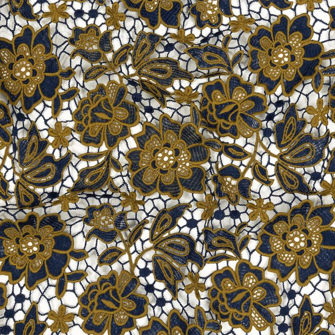 Mustard and Royal Blue Floral Two-Tone Guipure Lace with Finished Edges