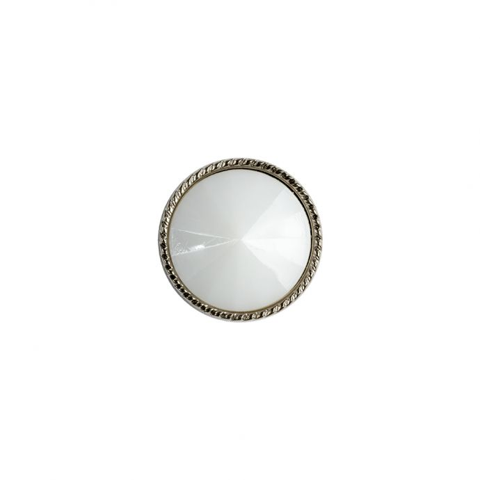 White and Silver 2-Piece Cone-Shaped Shank Back Button - 20L/12.5mm