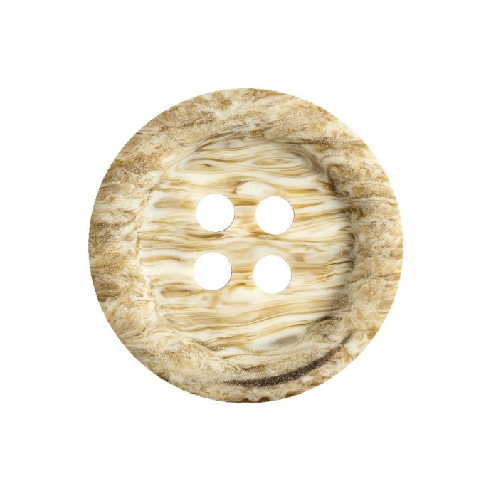 Brown Rice and Bleached Sand Rippled Tire Rimmed 4-Hole Button - 40L/25.5mm