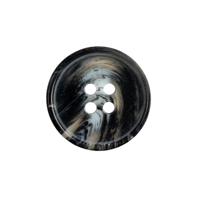 Black, Transparent and Gray Narrow Rimmed Button - 35L/22mm