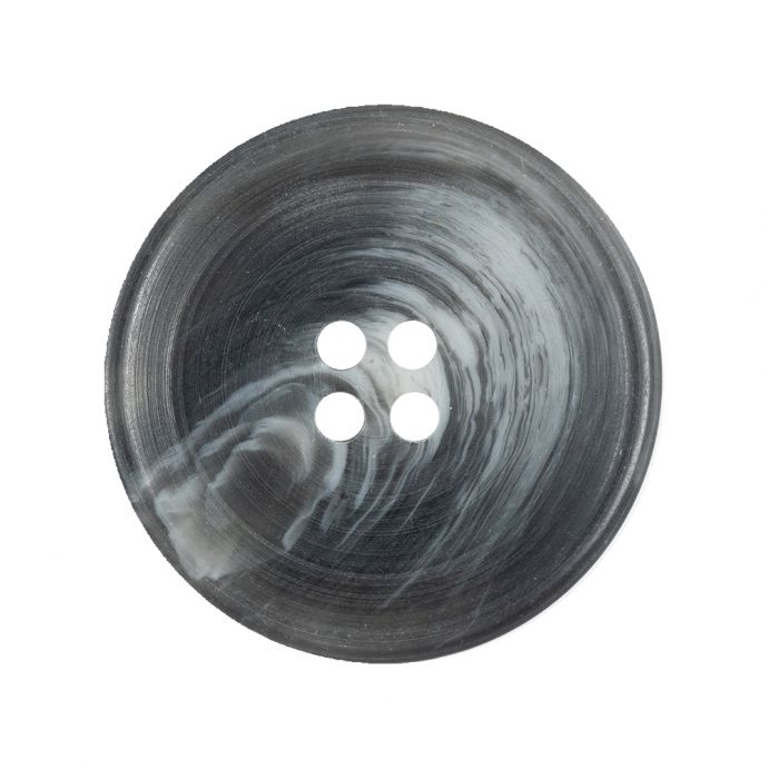 Gray and Silver Cloud Swirled 4-Hole Shallow Plate Plastic Button - 44L/28mm