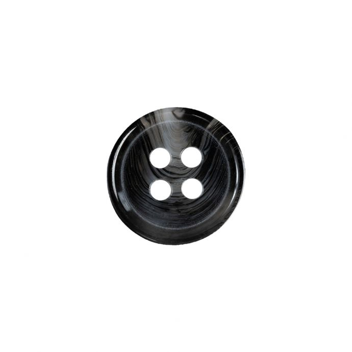 Inkblot, Silver Cloud and Translucent 4-Hole Tire Rimmed Plastic Button - 24L/15mm