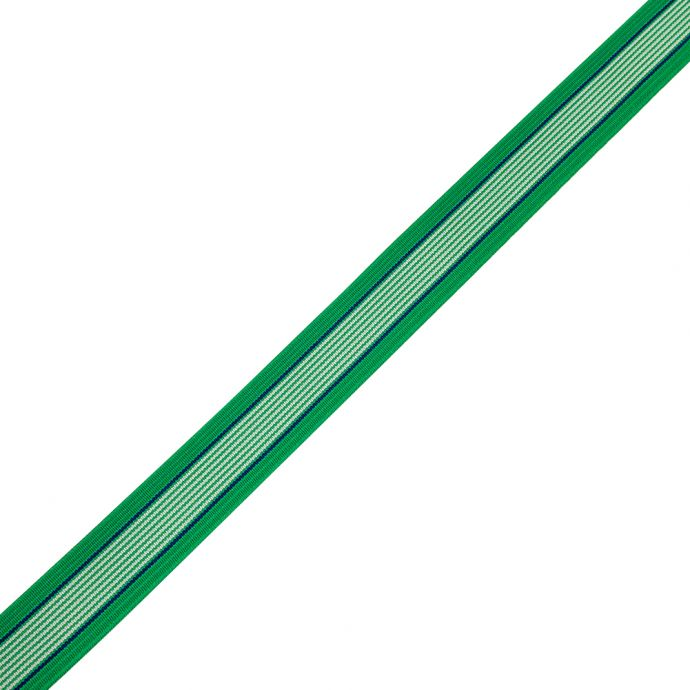 Frosty Green, White and Limoges Striped Elastic - 1