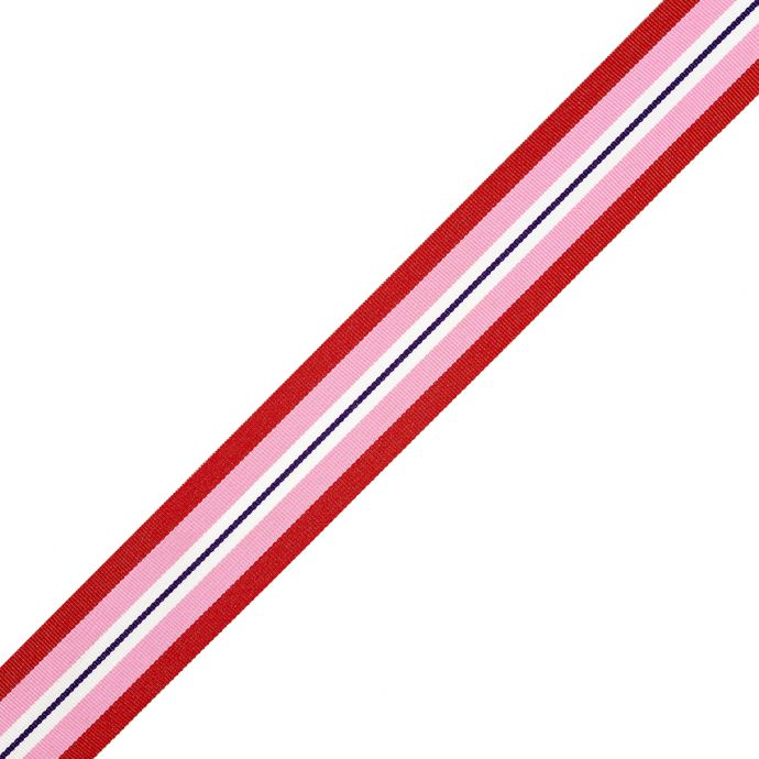Red, Pink and White Striped Ribbon - 1.5
