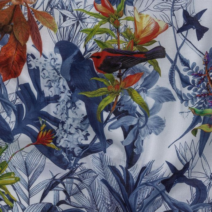 Toulouse Patriot Blue and Cool Gray Tropical Birds Mercerized Organic Egyptian Cotton Voile