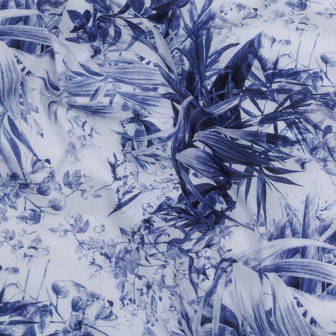 Toulouse Galaxy Blue and White Tropical Oasis Mercerized Organic Egyptian Cotton Voile