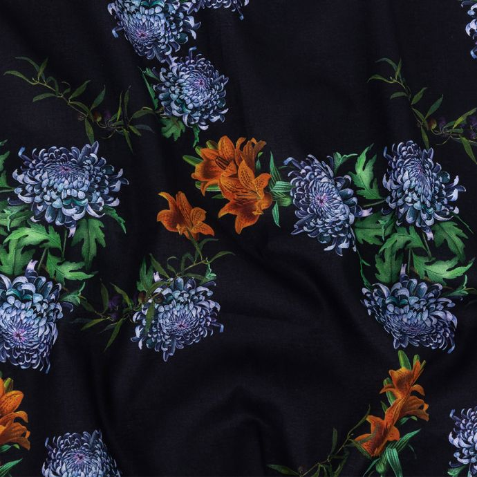 Toulouse Tiger Lilies and Chrysanthemums Mercerized Organic Egyptian Cotton Voile