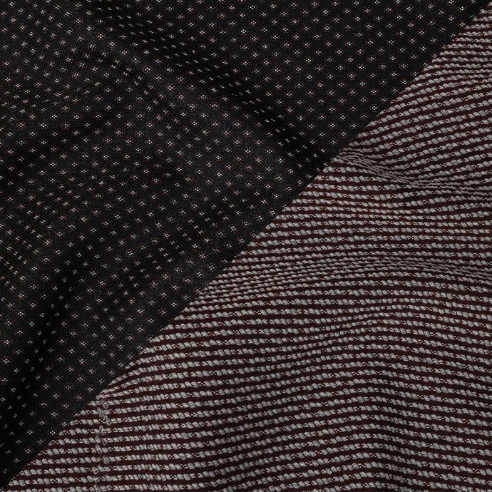 Italian Black and Red Stretch Blended Cotton Jacquard