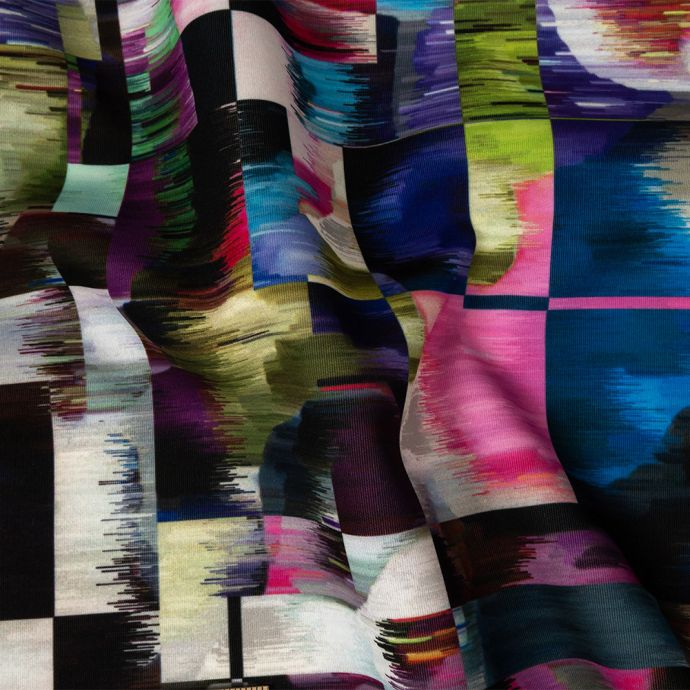 Milly Multicolor Abstract Ikat Squares Stretch Scuba Knit